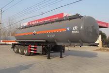 程力威11米29吨3轴腐蚀性物品罐式运输半挂车(CLW9402GFWB)