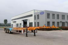 锣响14米34.4吨3轴危险品罐箱骨架运输半挂车(LXC9402TWYE)