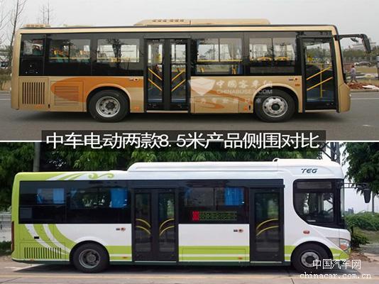 中车电动两款8.5米产品侧围对比